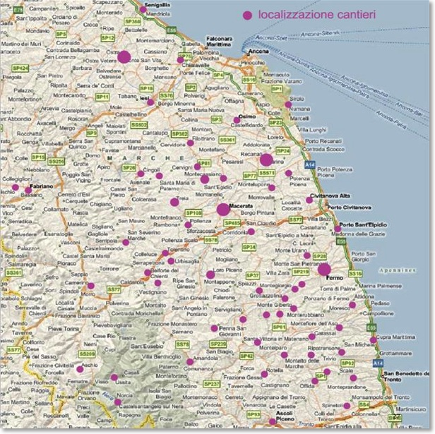 My Works Localization Map In Le Marche Italy